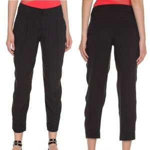 Alice + Olivia Employed Black Silk Cuffed Trousers